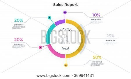 Round Ring-like Chart Divided Into 4 Parts And Percentage Indication. Concept Of Product Sales Repor