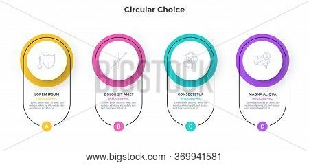 Diagram With 4 Colorful Circular Elements. Concept Of Four Successive Stages Of Business Plan. Simpl