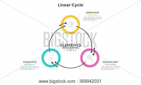 Ring-like Diagram With 3 Round Elements Connected By Arrows Twined Around. Concept Of Three Stages O