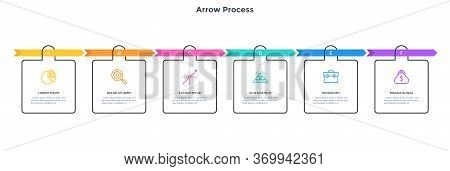 Flowchart With 6 Colorful Arrows And Square Elements. Concept Of Six Successive Stages Of Business S