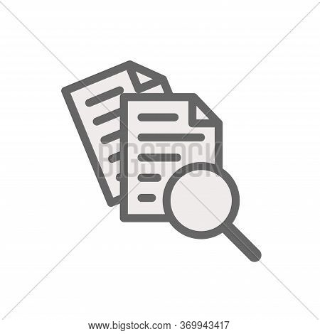 Scrutiny Document Plan Icon Vector Isolated On White Background. Review Statement Vector. Case Studi