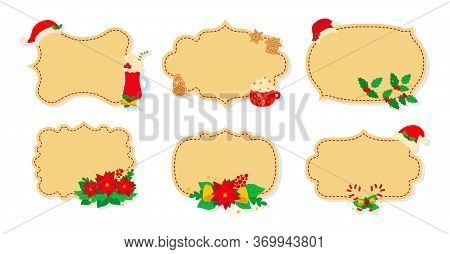 Christmas Label And Tag Flat Set. Cartoon Holiday Collection Beige Christmas Patch Labels. Christmas