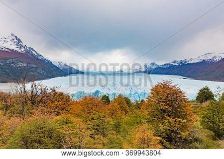 Perito Moreno Glacier In Patagonia, Argentina In Autumn . The Perito Moreno Glacier Is A Glacier Loc