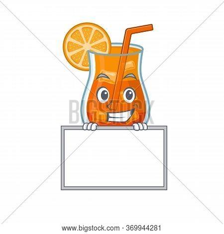 Mai Tai Cocktail Cartoon Design Style Standing Behind A Board