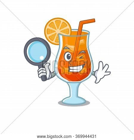Cartoon Picture Of Mai Tai Cocktail Detective Using Tools