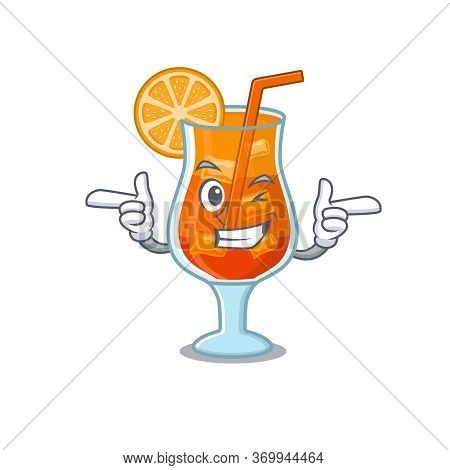 Cartoon Design Of Mai Tai Cocktail Showing Funny Face With Wink Eye