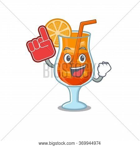 Mai Tai Cocktail In Cartoon Drawing Character Design With Foam Finger