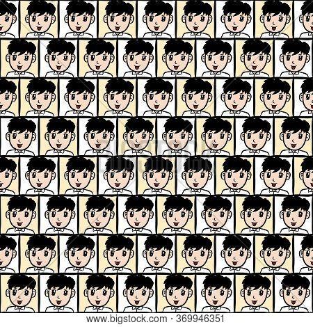 Art Seamless Pattern Background Of Cartoon Cute Boy