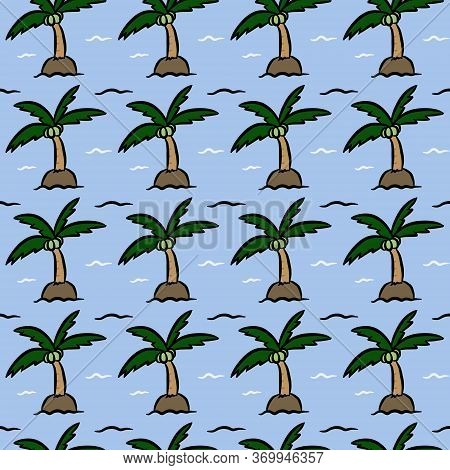 Art Seamless Pattern Background Of Coconut Island
