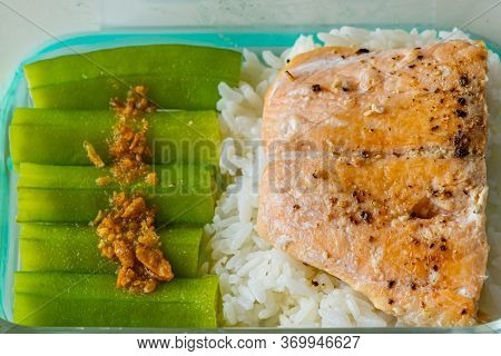 Steamed Okra And Baked Salmon Served With White Rice