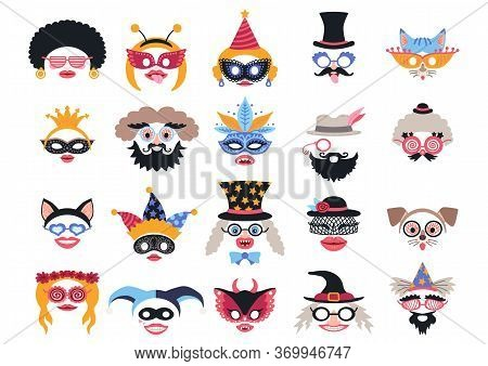 Masquerade Set Of Various Masks For Costume