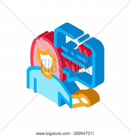 Actor Woman With Replica Icon Vector. Isometric Actor Woman With Replica Sign. Isolated Contour Symb