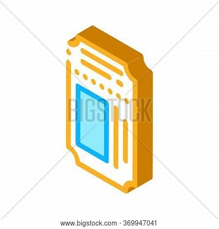 Theater Ticket Icon Vector. Isometric Theater Ticket Sign. Color Isolated Symbol Illustration
