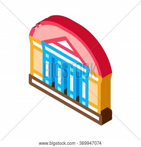 Theater Building Icon Vector. Isometric Theater Building Sign. Color Isolated Symbol Illustration