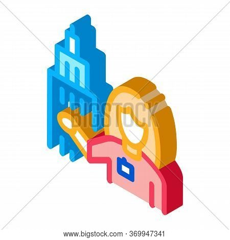 Woman Guide Near Tower Landmark Icon Vector. Isometric Woman Guide Near Tower Landmark Sign. Color I