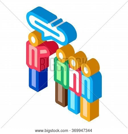 Tourists Group With Guide Icon Vector. Isometric Tourists Group With Guide Sign. Color Isolated Symb
