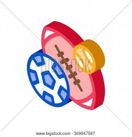 Football Rugby Baseball Icon Vector. Isometric Football Rugby Baseball Sign. Color Isolated Symbol I