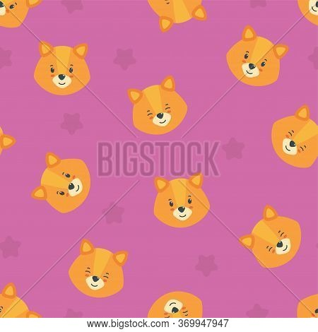 Seamless Pattern With Happy Puppy Heads In Pink Background. Cute Puppy Print For Various Designs. Ve