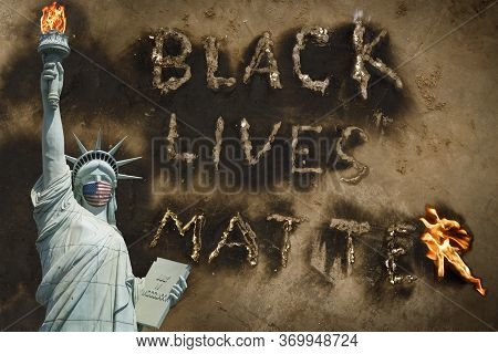 Black Lives Matter Protest Usa Concept, Statue Of Liberty With Medical Mask Human Rights Protest Mes