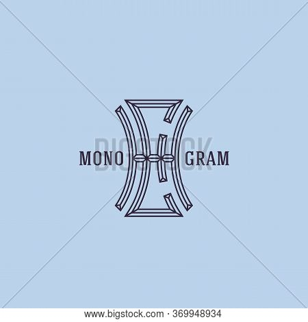 Geometric Beveled Vintage Monogram Letters H And E Design Template In Linear Style. Vector Illustrat