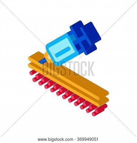 Injection Of Syringe Under Skin Icon Vector. Isometric Injection Of Syringe Under Skin Sign. Color I