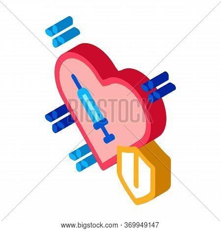 Cardiac Repair Injection Icon Vector. Isometric Cardiac Repair Injection Sign. Color Isolated Symbol