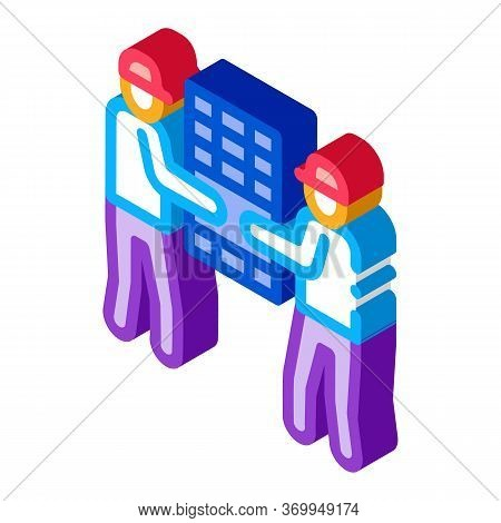 Solar Installation Workers Icon Vector. Isometric Solar Installation Workers Sign. Color Isolated Sy