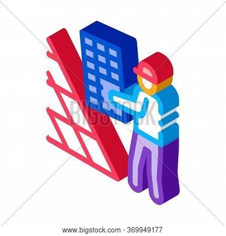 Installer Working Solar Battery Icon Vector. Isometric Installer Working Solar Battery Sign. Color I