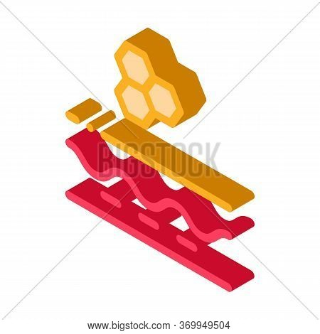 Particle Structure Of Cream Icon Vector. Isometric Particle Structure Of Cream Sign. Color Isolated