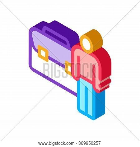Busy Man Icon Vector. Isometric Busy Man Sign. Color Isolated Symbol Illustration