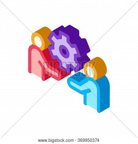 Partnership Solutions Icon Vector. Isometric Partnership Solutions Sign. Color Isolated Symbol Illus