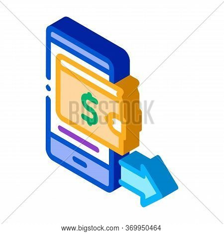 Card Payment Via Smartphone Icon Vector. Isometric Card Payment Via Smartphone Sign. Color Isolated