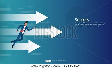 Business Success Illustration Concept With Arrow Up Graphic And Businessman Character For Financial,