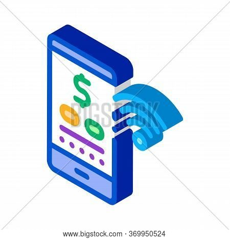 Money Management Through Wi-fi Distribution Icon Vector. Isometric Money Management Through Wi-fi Di