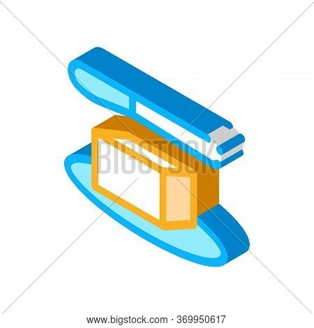 Whole Piece Of Butter And Knife Icon Vector. Isometric Whole Piece Of Butter And Knife Sign. Color I