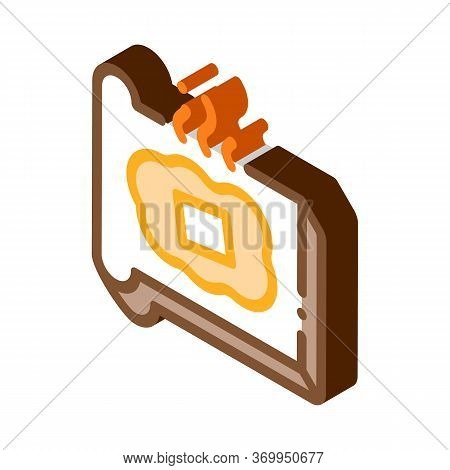 Toast With Melting Butter Icon Vector. Isometric Toast With Melting Butter Sign. Color Isolated Symb