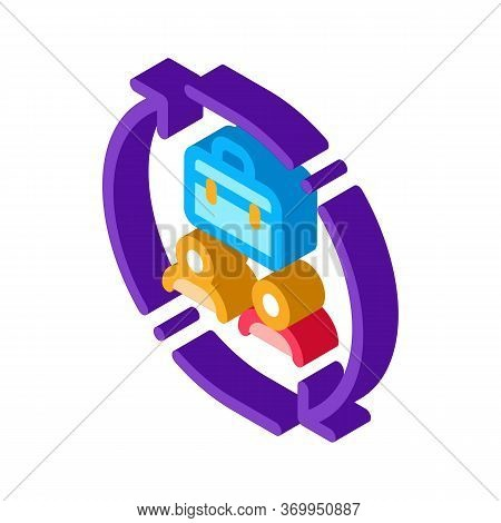 Business And Work Cycle Icon Vector. Isometric Business And Work Cycle Sign. Color Isolated Symbol I