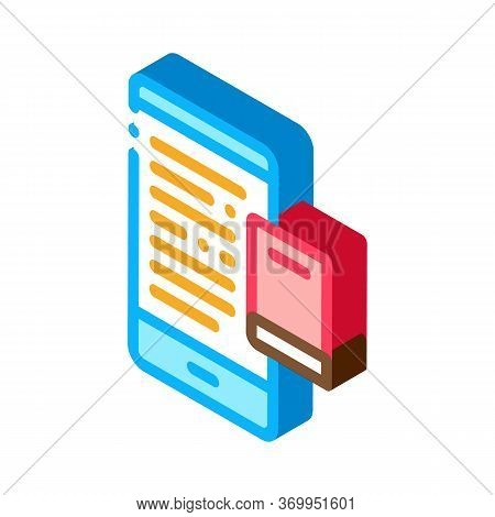 Ebook Icon Vector. Isometric Ebook Sign. Color Isolated Symbol Illustration