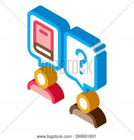 Book Discussion Dialogue Icon Vector. Isometric Book Discussion Dialogue Sign. Color Isolated Symbol