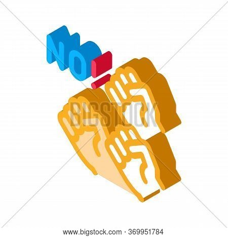 Mutual Protest Of People Icon Vector. Isometric Mutual Protest Of People Sign. Color Isolated Symbol