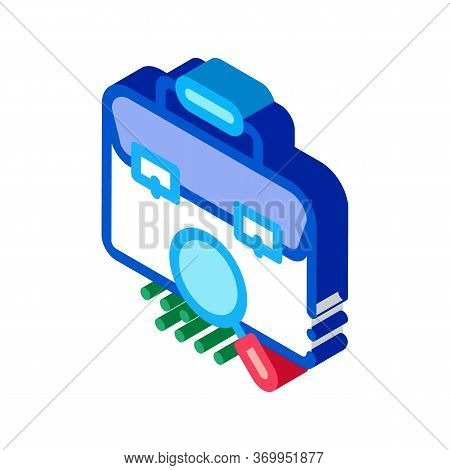 Briefcase Bag Check Icon Vector. Isometric Briefcase Bag Check Sign. Color Isolated Symbol Illustrat