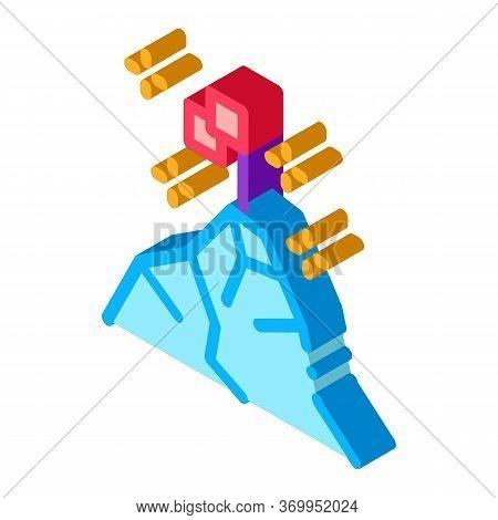 Conquering Top Of Mountain Icon Vector. Isometric Conquering Top Of Mountain Sign. Color Isolated Sy