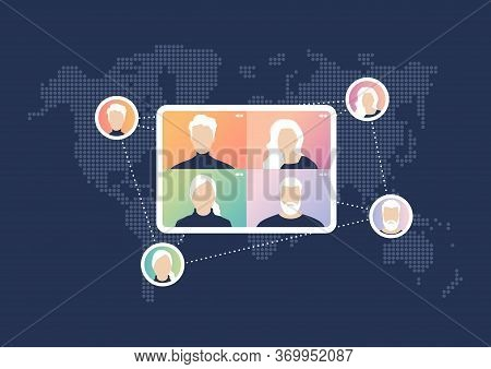 World Wide Video Conference Concept. Videoconferencing And Online Meeting .