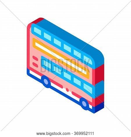 Double Decker Sightseeing Bus Icon Vector. Isometric Double Decker Sightseeing Bus Sign. Color Isola