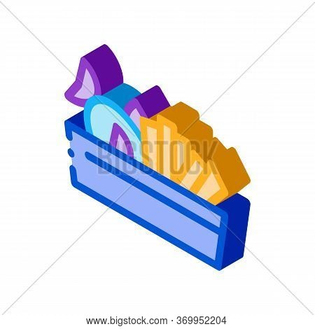 Souvenir Basket Icon Vector. Isometric Souvenir Basket Sign. Color Isolated Symbol Illustration