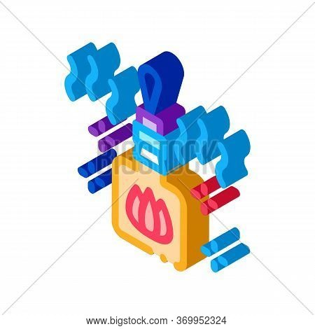 Burning Gas Fuel Icon Vector. Isometric Burning Gas Fuel Sign. Color Isolated Symbol Illustration