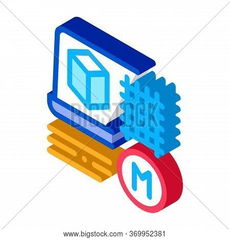 Modeling Of Building Materials Icon Vector. Isometric Modeling Of Building Materials Sign. Color Iso