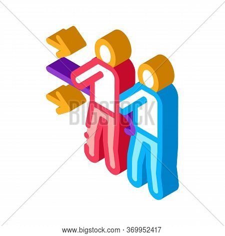 Team Efforts Of People Icon Vector. Isometric Team Efforts Of People Sign. Color Isolated Symbol Ill
