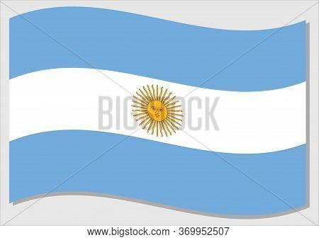 Waving Flag Of Argentina Vector Graphic. Waving Argentinian Flag Illustration. Argentina Country Fla