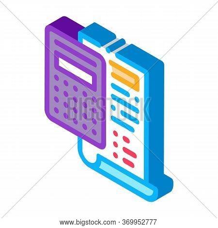 Court Sentence Cache Calculation Icon Vector. Isometric Court Sentence Cache Calculation Sign. Color